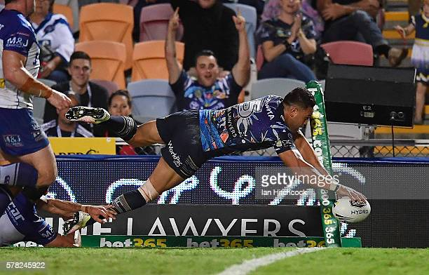 Antonio Winterstein of the Cowboys scores a try during the round 20 NRL match between the North Queensland Cowboys and the Canterbury Bulldogs at...