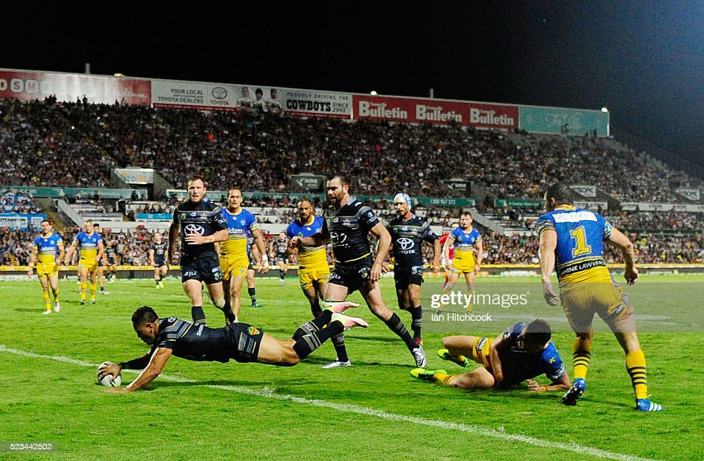 Antonio Winterstein of the Cowboys scores a try during the round eight NRL match between the North Queensland Cowboys and the Parramatta Eels at 1300SMILES Stadium on April 23, 2016 in Townsville, Australia.