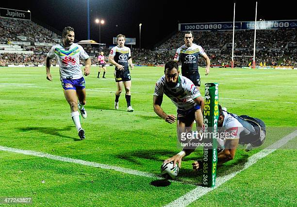 Antonio Winterstein of the Cowboys scores a try during the round one NRL match between the North Queensland Cowboys and the Canberra Raiders at...