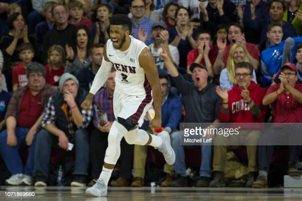 Antonio Woods of the Pennsylvania Quakers reacts after a made basket in the first half against the Villanova Wildcats at The Palestra on December 11...