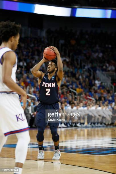 Antonio Woods of the University of Pennsylvania shoots during their game against the University of Kansas at the first round of the 2018 NCAA Photos...
