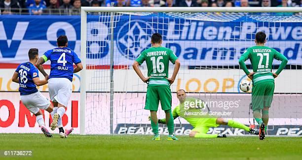 AntonioMirko Colak of Darmstadt scores the first goal for his team during the Bundesliga match between SV Darmstadt 98 and Werder Bremen at Stadion...