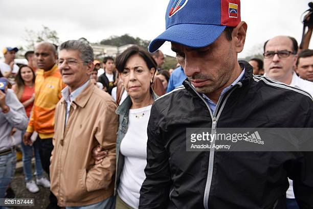 Antonioneta Mendoza mother of jailed opposition leader Leopoldo Lopez and Governor of Miranda state Henrique Capriles are seen outside the military...