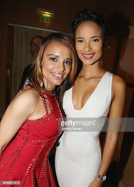 Antonique Smith and Miss Jamaica Kaci Fennell attends Ted Reid's Annual Pre Grammy Reception at L'Ermitage Beverly Hills Hotel on February 12 2016 in...