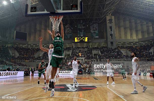 Antonis Fotsis #9 of Panathinaikos Superfoods Athens in action during the 2016/2017 Turkish Airlines EuroLeague Regular Season Round 17 game between...