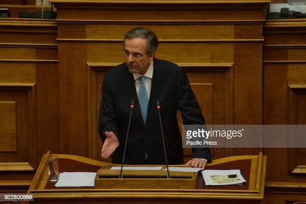 PARLIAMENT ATHENS ATTIKI GREECE Antonis Samaras deputy of New Democracy party and former Greek Prime Minister during his speech in Hellenic Parliament