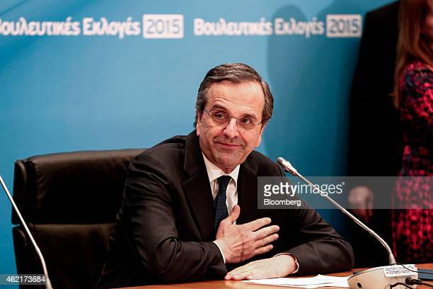 Antonis Samaras Greece's prime minister acknowledges his supporters as he makes statements at Zappeion hall in Athens Greece on Sunday Jan 25 2015...