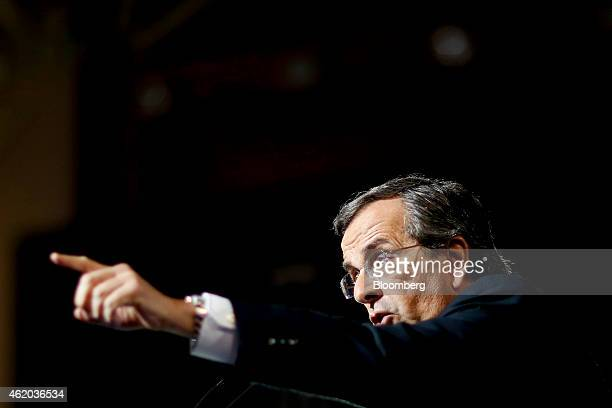 Antonis Samaras Greece's prime minister gestures while speaking at his final preelection rally in Palaio Faliro near Athens Greece on Friday Jan 23...