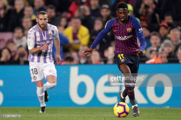 Antonito of Real Valladolid Ousmane Dembele of FC Barcelona during the La Liga Santander match between FC Barcelona v Real Valladolid at the Camp Nou...