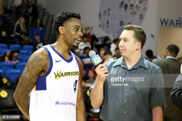 Antonius Cleveland of the Santa Cruz Warriors speaks with the media after the game against the Agua Caliente Clippers on November 11 2017 at the...