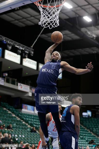 Antonius Cleveland of the Texas Legends dunks during the fourth quarter against the Rio Grande Valley Vipers on February 26, 2020 at Comerica Center...