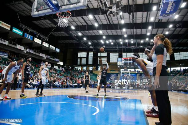 Antonius Cleveland of the Texas Legends misses a free throw at the end of the game against the Salt Lake City Stars on January 20, 2020 at Comerica...