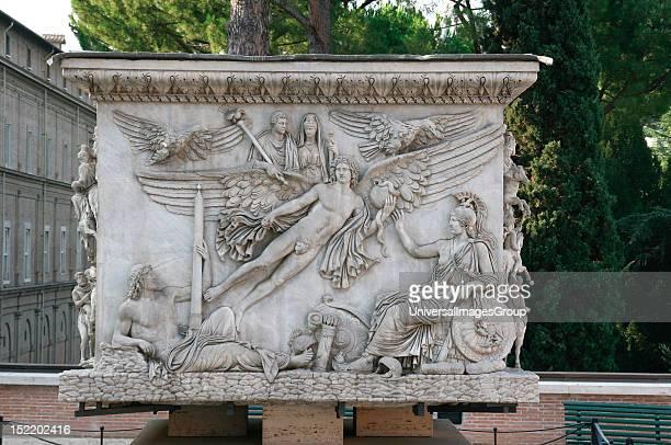 Antonius Pius Roman emperor Apotheosis of Antonius Pius and his wife Faustina Base of the Column of Antoninus 161 AD Marble Vatican Museum City of...