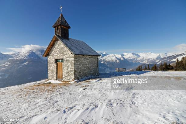 Antoniuskapelle in winter, snow, Grossglockner massif at back, Astental, Asten valley, chapel, mountains, Carinthia, Austria