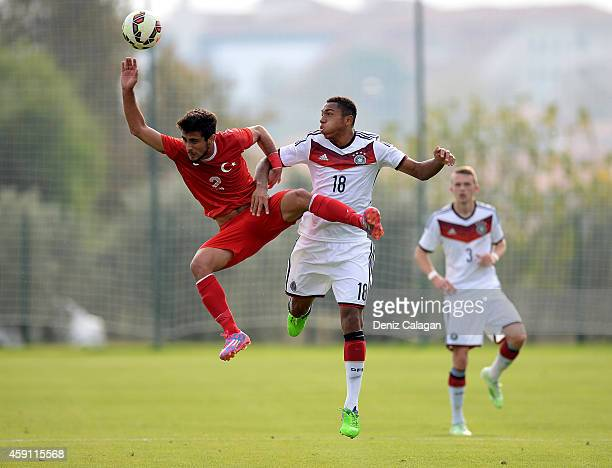 AntonLeander Donkor of Germany challenges Sabit Hakan Yilmaz of Turkey during the international friendly match between U18 Germany and U18 Turkey on...