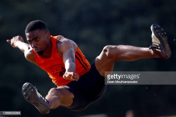 Antonny Ediagbonya of the Netherlands competes in the Mens Long Jump Final during Day 1 of the Dutch Athletics Championships on August 29, 2020 in...