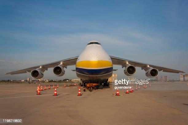 antonov an-124 ruslan heavy transport airplane - antonov stock pictures, royalty-free photos & images