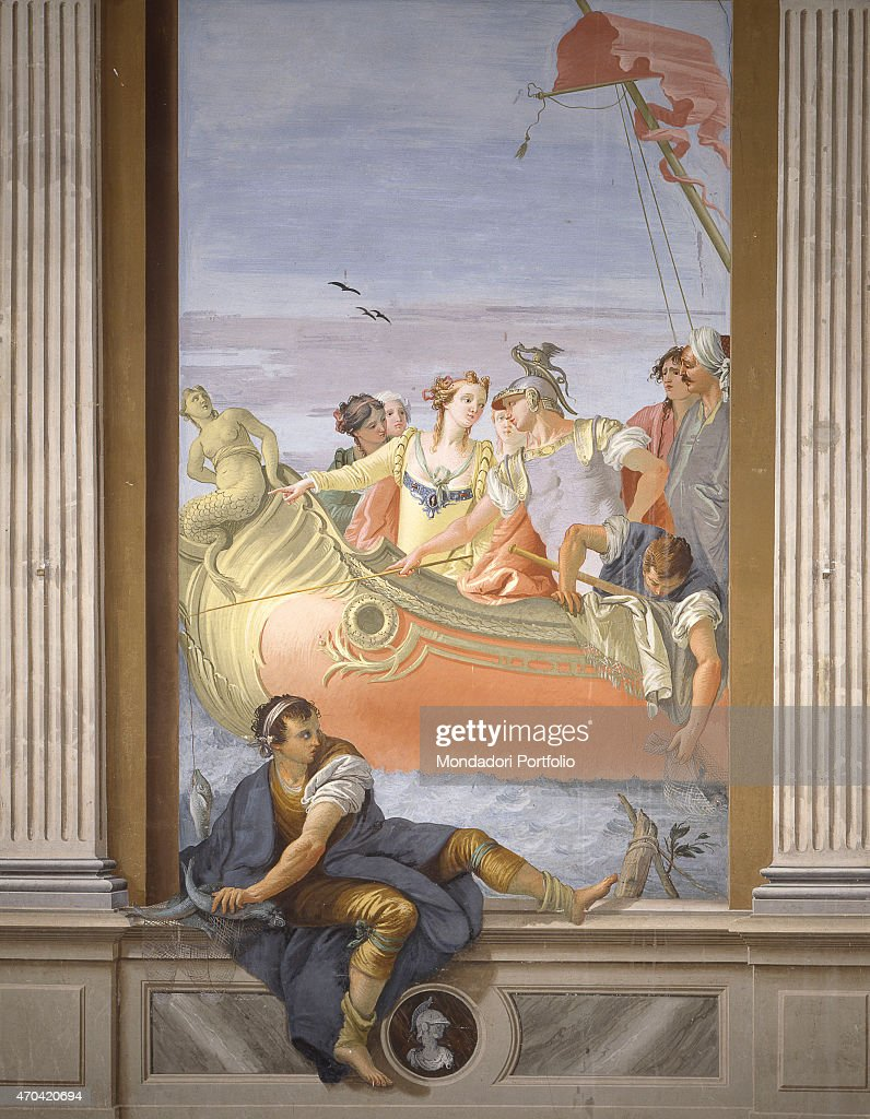 'Antony and Cleopatra. Fishing Scene (Antonio e Cleopatra. Scena di pesca), by Giovanni Scajaro, 1779, 18th Century, fresco' : News Photo