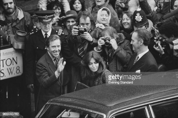 Antony ArmstrongJones former husband of Princess Margaret outside Kensington Register Office in London with his second wife Lucy LindsayHogg after...