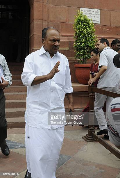 Antony at Parliament house during the budget session on July 23 2014 in New Delhi