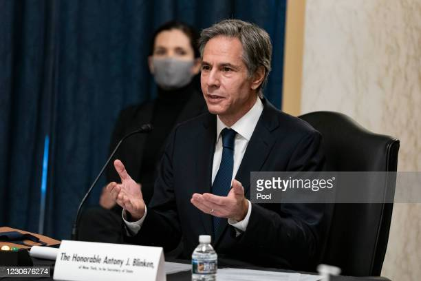 Antony Blinken speaks during his confirmation hearing to be Secretary of State before the US Senate Foreign Relations Committee on January 19, 2021...