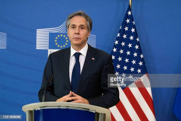 Antony Blinken, U.S. Secretary of state, speaks during a news conference with Ursula von der Leyen, president of the European Commission, not...