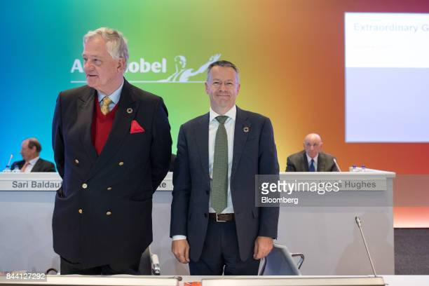 Antony Burgmans chairman of Akzo Nobel NV left and Thierry Vanlancker chief executive officer of Akzo Nobel NV arrive for a shareholder meeting in...