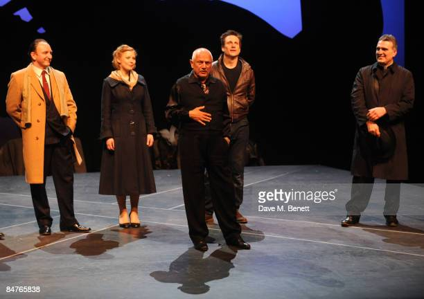 Antony Byrne Bryony Afferson Steven Berkoff Simon Merrells and Vincenzo Nicoli pose on stage during the press night of 'On The Waterfront' at The...