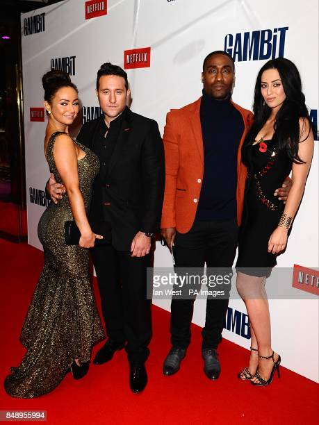 Antony Costa and guest Simon Webbe and Maria Koukas arriving for the premiere of Gambit at the Empire Leicester Square London