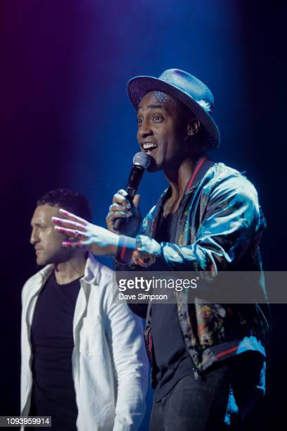 Antony Costa and Simon Webbe of the band Blue perform during So POP at Spark Arena on February 5 2019 in Auckland New Zealand