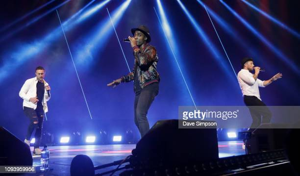 Antony Costa Simon Webbe and Duncan James perform during So POP at Spark Arena on February 5 2019 in Auckland New Zealand