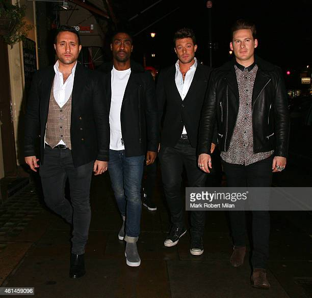 Antony Costa Simon Webbe Duncan James and Lee Ryan of the band Blue arrive at the Century club to celebrate the completion of the recording of their...