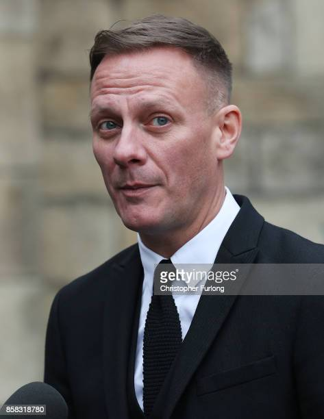 Antony Cotton departs the funeral of actress Liz Dawson at Salford Cathedral on October 6 2017 in Salford England Actress Liz Dawn who died aged 77...
