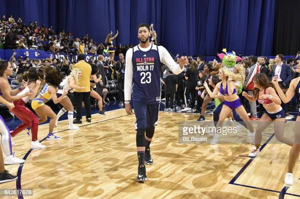 Antony Davis of the Western Conference is announced before the 2017 NBA All-Star Practice as a part of 2017 All-Star Weekend at the Mercedes-Benz...