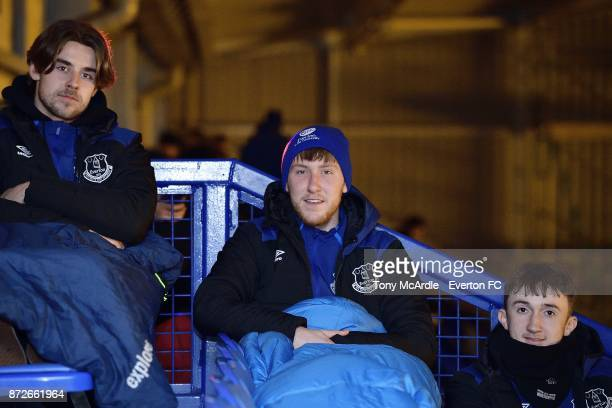 Antony Evans Josh Bowler and Jack Kiersey of Everton as they take part in the Goodison Sleepout at Goodison Park on November 10 2017 in Liverpool...