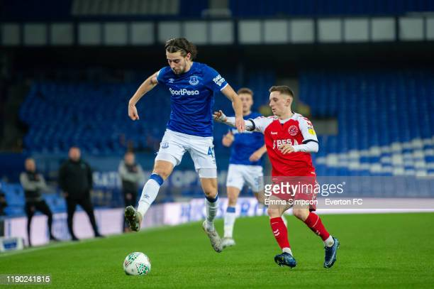Antony Evans of Everton and Ashley Hunter of Fleetwood Town in action during the Leasing Trophy Second Round match between Everton U21 and Fleetwood...