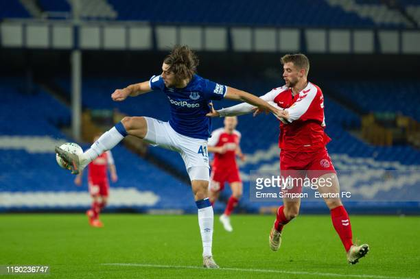 Antony Evans of Everton and Jack Sowerby of Fleetwood Town in action during the match between Everton U21 and Fleetwood Town at Goodison Park on...
