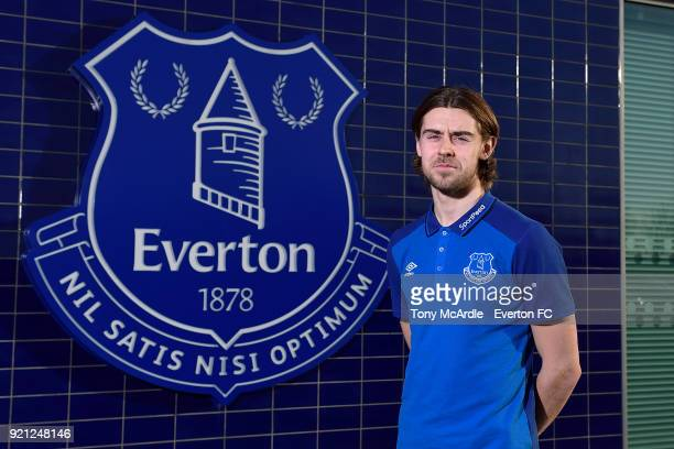 Antony Evans poses for a photo after signing a new Everton contract at USM Finch Farm on January 29, 2018 in Halewood, England.