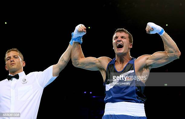 Antony Fowler of England celebrates winning the gold medal against Vijender Vijender of India in the Men's Middle Final at SSE Hydro during day ten...