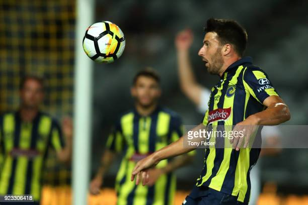 Antony Golec of the Mariners in action during the round 21 ALeague match between the Central Coast Mariners and the Wellington Phoenix at Central...