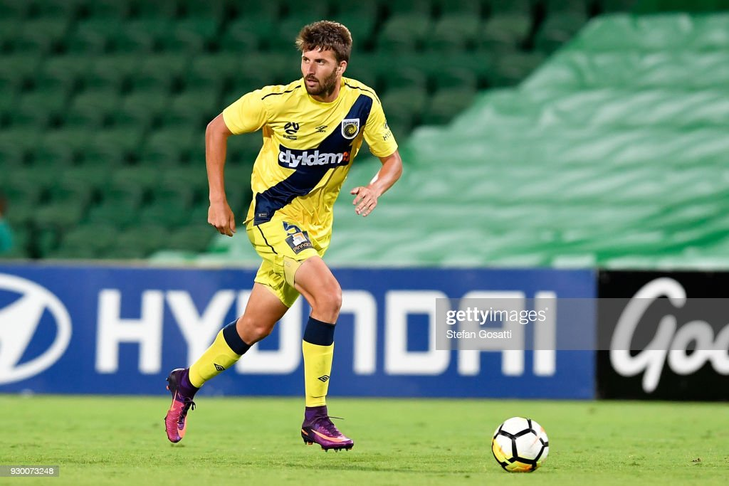 Antony Golec of the Mariners runs the ball during the round 22 A-League match between the Perth Glory and the Central Coast Mariners at nib Stadium on March 10, 2018 in Perth, Australia.
