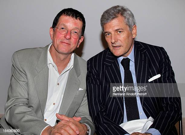 Antony Gormley and Alain Elkann attend the opening of Thaddaeus Ropac's new gallery on October 13 2012 in Pantin France