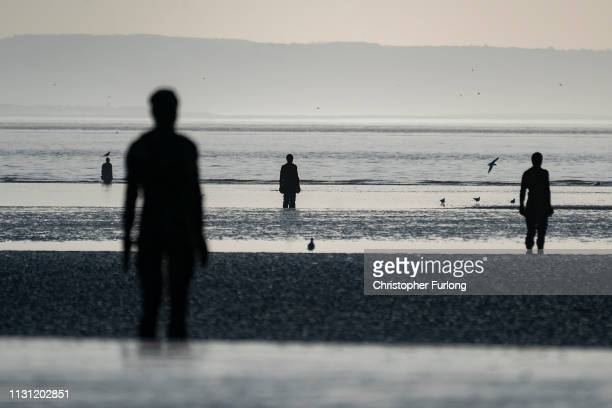 Antony Gormley Another Place sculptures at Crosby beach on February 21 2019 in Liverpool England