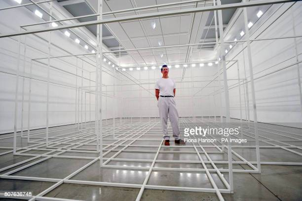 Antony Gormley with his installation Breathing Room III at the White Cube Gallery in London it is comprised of photoluminescent 'spaceframes' which...