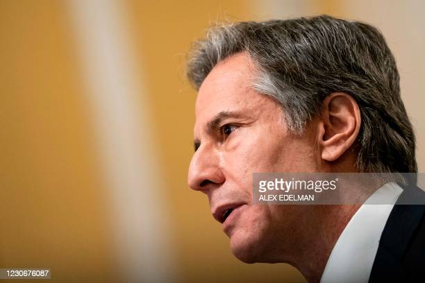 Antony J. Blinken, speaks during his confirmation hearing to be Secretary of State before the US Senate Foreign Relations Committee at the US Capitol...