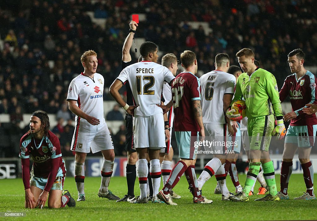 Antony Kay of MK Dons is shown a red card and sent off during the Sky Bet Championship match between MK Dons and Burnley at Stadium mk on January 12, 2016 in Milton Keynes, England.