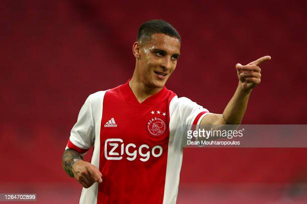 Antony of Ajax celebrates scoring his teams fifth goal of the game during the pre-season friendly match between Ajax Amsterdam and RKC Waalwijk at...