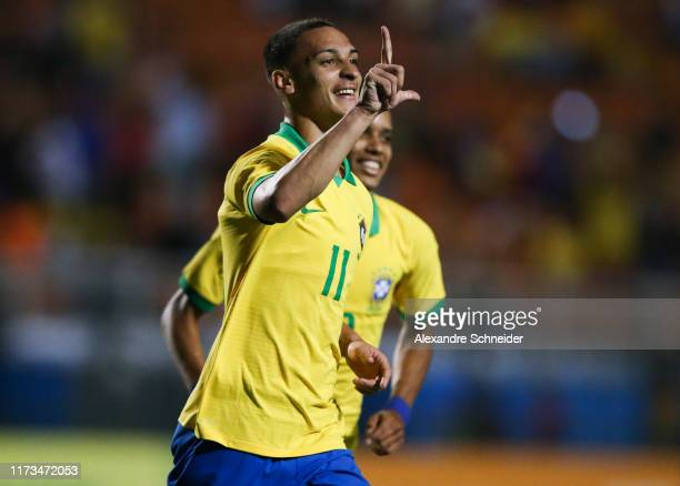 Antony of Brazil celebrates after scoring the third goal of his team during the Olympic Soccer Friendly match against Chile at Pacaembu Stadium on...