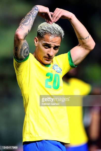 Antony of Brazil celebrates after scoring the third goal of his team during a match between Venezuela and Brazil as part of South American Qualifiers...