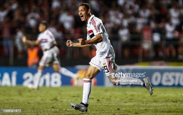 Antony of Sao Paulo celebrates after Michel of Gremio scored an own goal during a match between Sao Paulo and Gremio for the Brasileirao Series A...